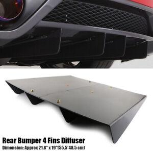 "21.8""x 19"" ABS Universal Rear Bumper 4 Fins Diffuser Fin Black Canards For Honda"