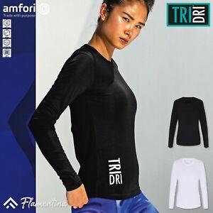 TriDri Womens Long Sleeve Performance T-Shirt Sports Gym Top Training Workout