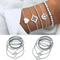 5Pcs/Set Women Silver Heart Beads Adjustable Chain Bangle Bracelets Jewelry