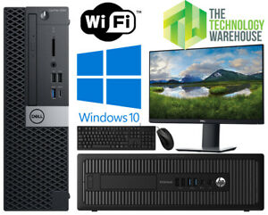 Dell HP PC Computer Bundle with Intel or AMD CPU + SSD + Windows 10 & Monitor