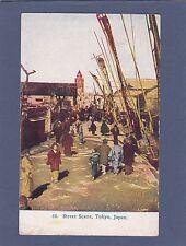 Vintage 1911-Tokyo Japan-Waterfront-People-B oats-Buildings