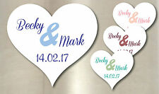 100 Personalised Wedding Colour Heart Stickers Decoration Seals Labels Favours