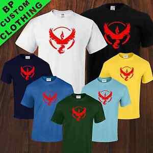 New Team Color Valor Pokemon GO Fan Inspired Mens Uni-sex T-Shirt 7 colors S-5XL