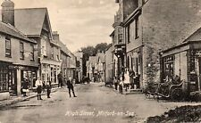 High Street MILFORD-ON-SEA Shop Fronts Hampshire Original Postcard (1.96)