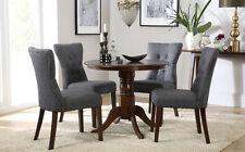 Kingston Round Dark Wood Dining Room Table & 4 Bewley Fabric Chairs Set - Slate