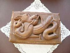 Oriental Trinket Box - Wooden Carved Box - Dragon Trinket Box - Dragon In Relief