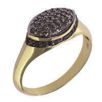 Damen Ring echt Silber 925 Sterlingsilber gelb-gold mit Diamanten schwarz weiß