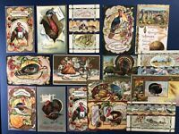 16 Embossed Antique Thanksgiving Postcards. Gold Trim. For Collectors w Value