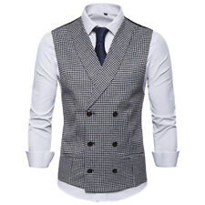 New Fashion Mens Vests Double Breasted Plaids Checks Slim Waistcoats YM3055