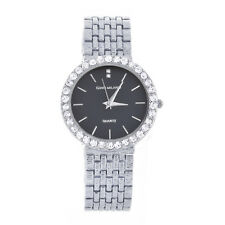 Women's Lady's Fashion Luxury CZ Iced Silver Plated Metal Watches WM 8769 SBK
