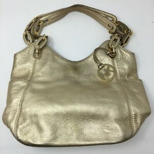 Michael Kors Hobo Shoulder Bag Womens Med Metallic Gold Handbag Dual Top Handle