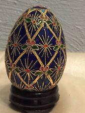 Harlequin Style Enameled Egg Set Hand Painted Color:blue