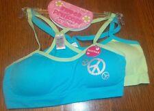 XS 4/5 Girl's Sweet Princess 2 Pack Seamless Padded Racerback Blue Lime Bra Set