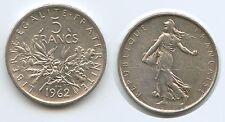 G1917 - Frankreich 5 Francs 1962 Silber KM#926 Liberty Seed Sower France