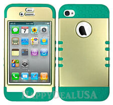 KoolKase Hybrid Silicone Cover Case for Apple iPhone 4 4S - Champagne Gold