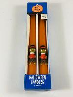 Vintage Atico Halloween Pumpkin Monster Orange Candle NIB