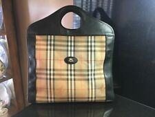 Authentic Vintage Burberry Burberrys Nova Check Tote Handbag Purse RARE STYLE!