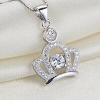 Women's White Crystal Crown Pendant Necklace Fashion 925 Sterling Silver Jewelry