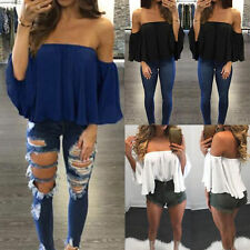 Women Casual Gypsy Blouse Bandeau Off Shoulder Tops Long Bell Sleeve Top Prom OY