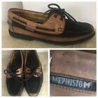 Mephisto Boat Shoes Leather Black Tan US Mens Sz 10.5 #946138080 Made Portugal