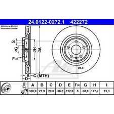 ATE 2x Bremsscheiben belüftet beschichtet 24.0122-0272.1