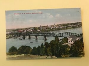 Woodstock Showing Highway Bridge NB New Brunswick Canada Postcard