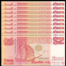 Lot 10 PCS, Singapore 2 Dollar, 1990, P-27, UNC Boat