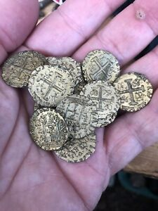 Vintage Pirate Game Tokens Gold Color In Felt Bag About 40
