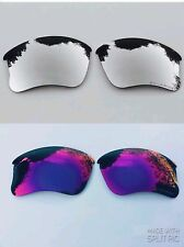 ENGRAVED POLARIZED SILVER & POSITIVE RED MIRROR OAKLEY FLAK JACKET XLJ  LENSES