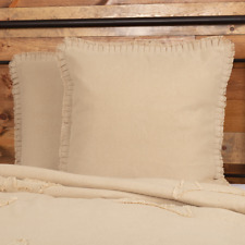 "Burlap Vintage Euro Pillow Sham 26x26"" Ruffle Antique Creme Farmhouse Country"