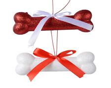6 x White & Red Dog Bone Shape Hanging Christmas Tree Baubles Decorations