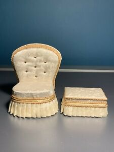 1:12 Scale Dolls House Furniture Hand Made Chair & Footstool Signed Lyntel 93