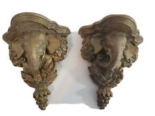 Ornate Bronze Carved Elephant Wall Sconces.