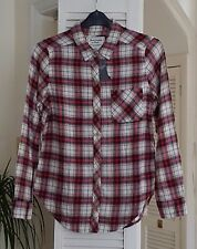 LOVELY NEW ABERCROMBIE & FITCH MENS CHECKED SHIRT BEIGE RED BLUE SIZE LARGE