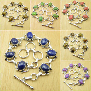 925 Silver Plated Variation To Choose !! LAPIS LAZULI & Other Gemstone Bracelet
