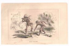 """1857 Hand Colored Art Print Engraving """"Ball Playing"""" Native Americans  Free Ship"""