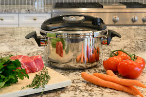 Turbo 6 Quart Stove Top Pressure Cooker Induction Compatible Easy-Lock Lid