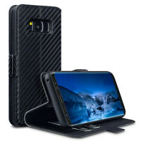 Samsung Galaxy S8 Edge Low Profile Premium Carbon Black Folio Book Case Wallet.