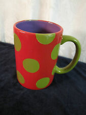 Dept 56 Polka Dot Mug Red Olive Green with Purple Interior fun large mug