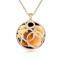 18K Gold Plated Made With Swarovski Crystal Psychedelic Round Long Necklace