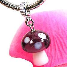 Wholesale 20pcs Mushroom Lampwork Glass Dangle European Bracelet Charm Bead D373
