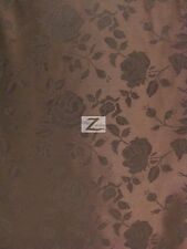 """FLORAL ROSE JACQUARD SATIN FABRIC - Brown - 60"""" WIDTH SOLD BY THE YARD"""