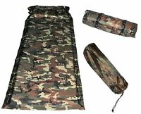 Camping Mat Matrress Outdoor Sleeping Pad Self-Inflating Polyester Army Green