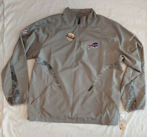 NWT Reebok Buffalo Bills 1/4 Zip Pullover Onfield Apparel Jacket Mens Size XL