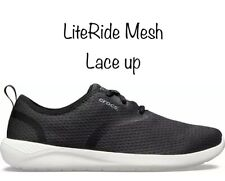 Crocs Men's LiteRide Mesh Lace-Up Sneaker, Black/White, Size 11