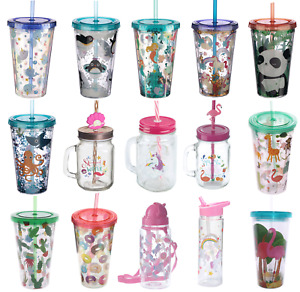 Kids Childrens Drinking Cup Glass Jar with Straw Water Bottle Cold Drinks