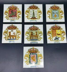 VINTAGE ONDA SPANISH TILES LOT OF SEVEN 7