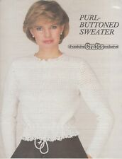 Chatelaine Crafts Purl Buttoned Sweater women's cardigan crochet pattern