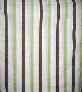 TWIN - Tiddliwinks - Madagascar Green Brown White Stripes DUST RUFFLE / BEDSKIRT