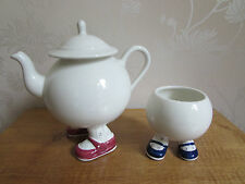 PRICE KENSINGTON Carlton Walking Ware Sugar Basin Tea Pot Blue & Pink Shoes RARE